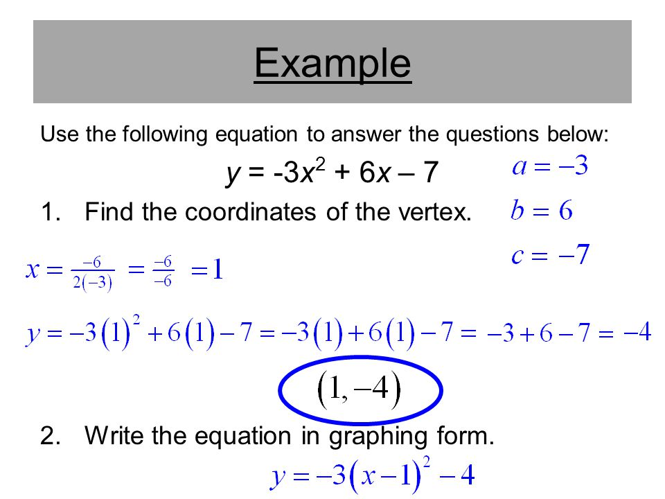 Example y = -3x2 + 6x – 7 Find the coordinates of the vertex.