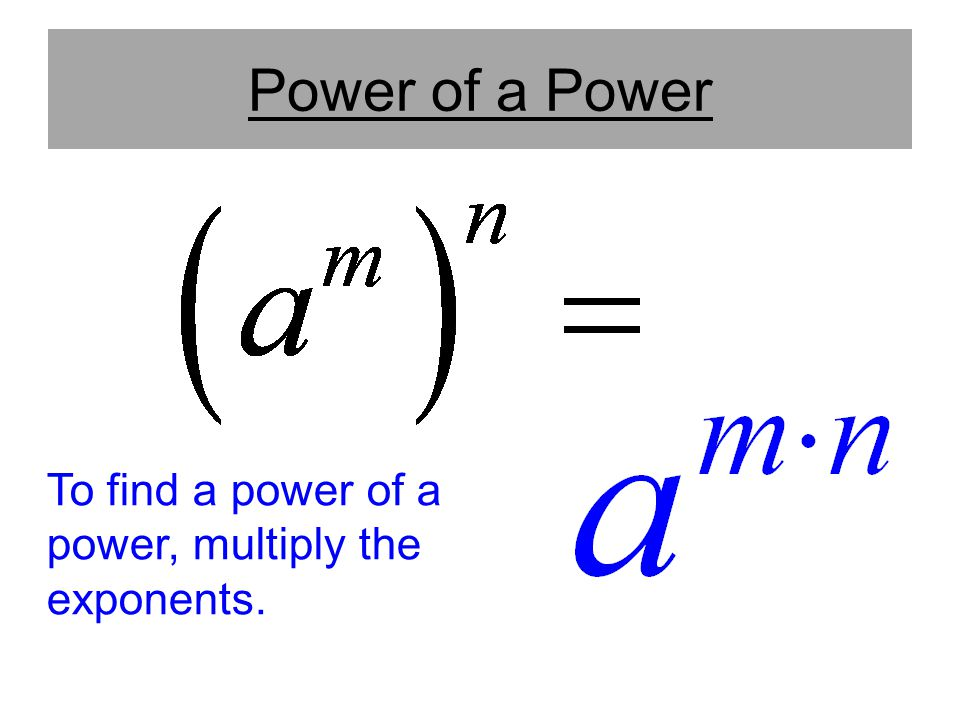 Power of a Power To find a power of a power, multiply the exponents.
