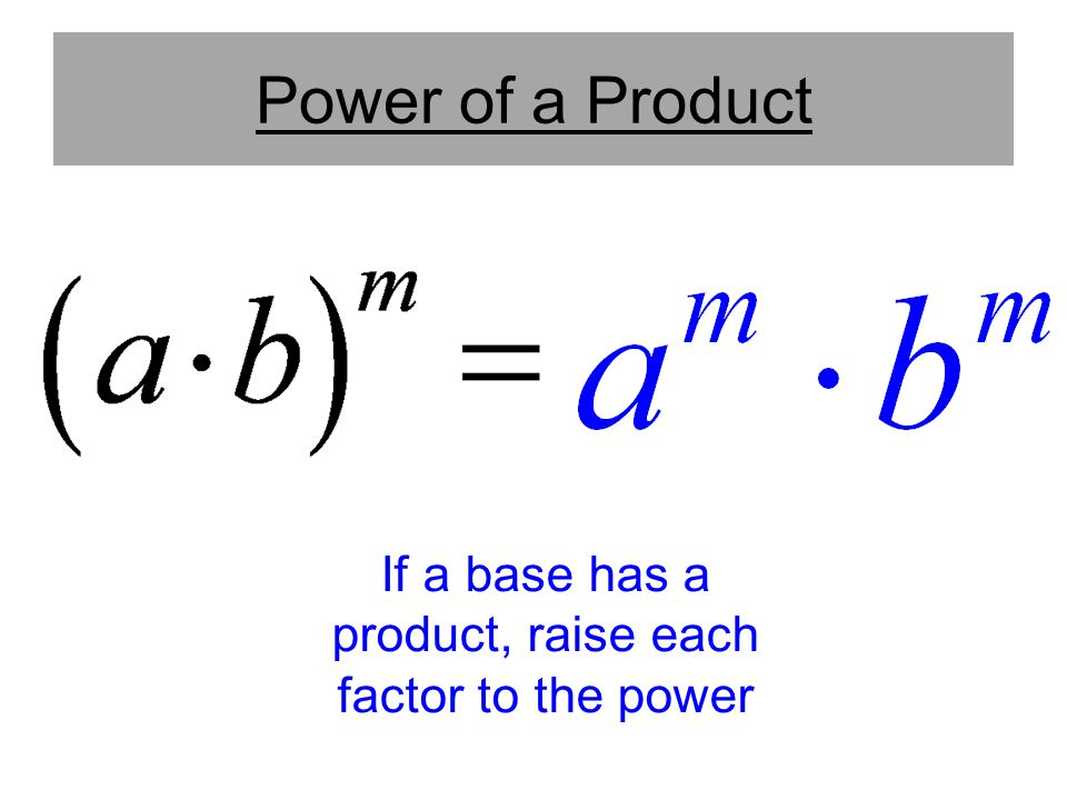 If a base has a product, raise each factor to the power