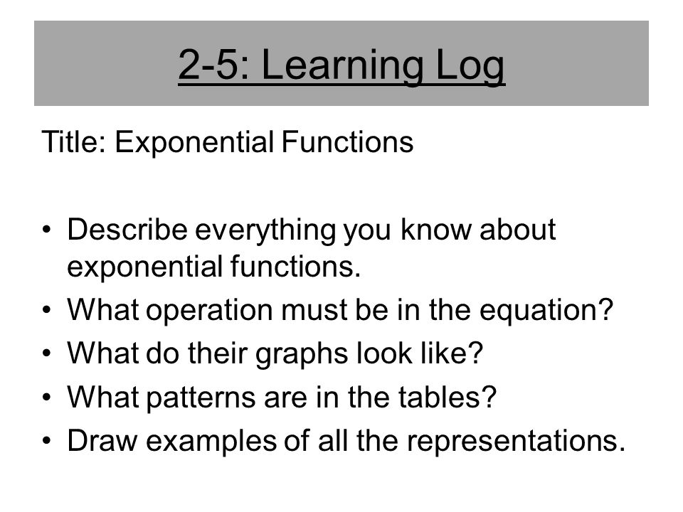 2-5: Learning Log Title: Exponential Functions