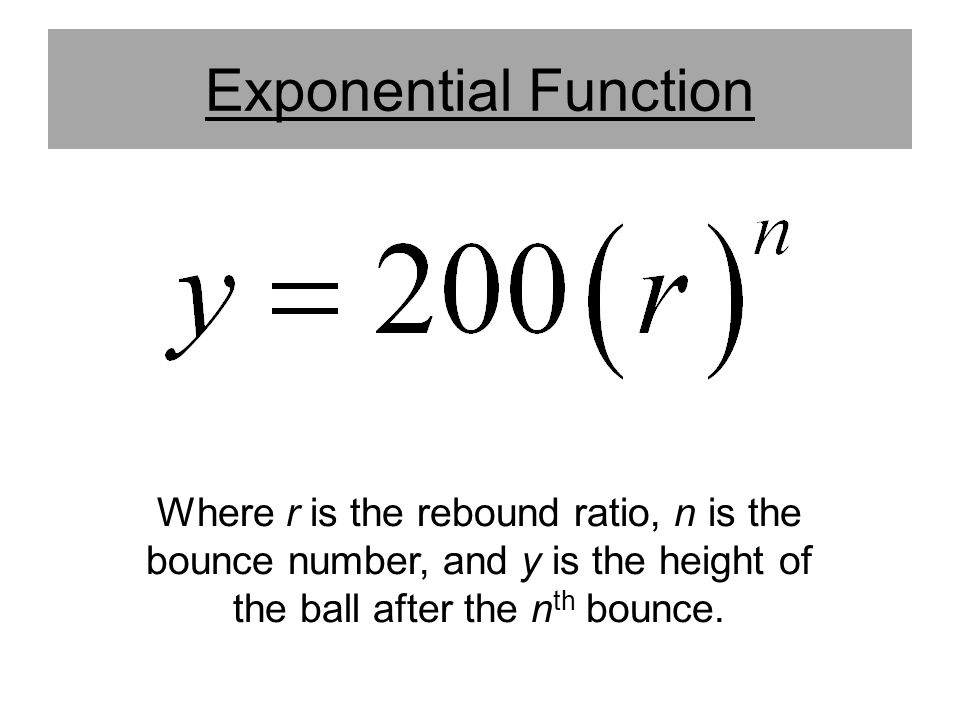 Exponential Function Where r is the rebound ratio, n is the bounce number, and y is the height of the ball after the nth bounce.