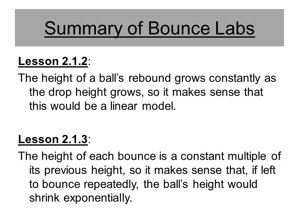 Summary of Bounce Labs Lesson 2.1.2:
