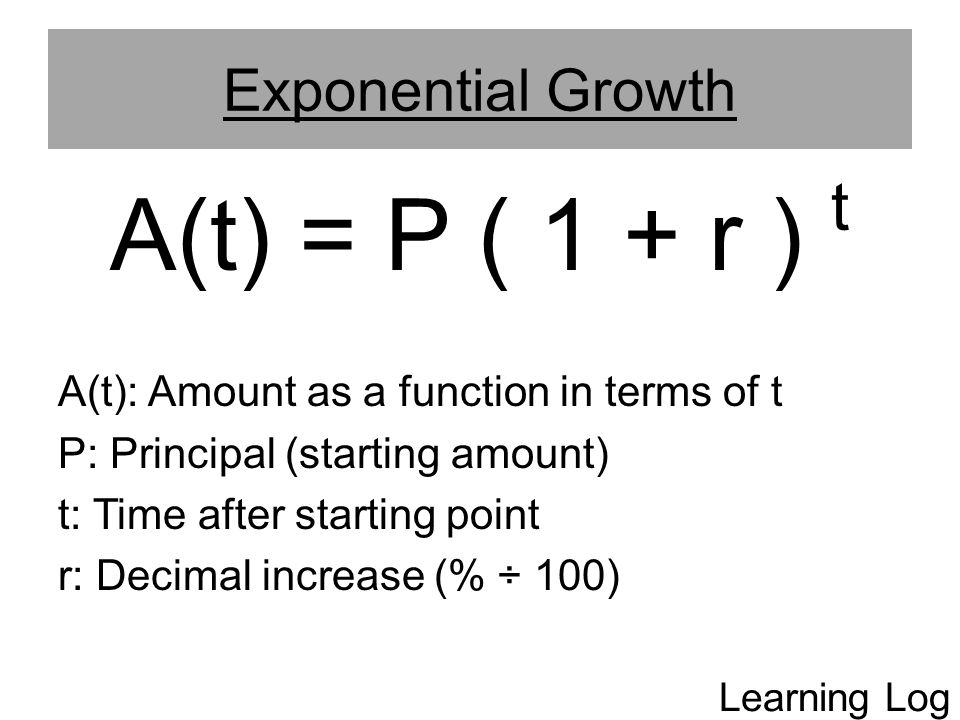 A(t) = P ( 1 + r ) t Exponential Growth