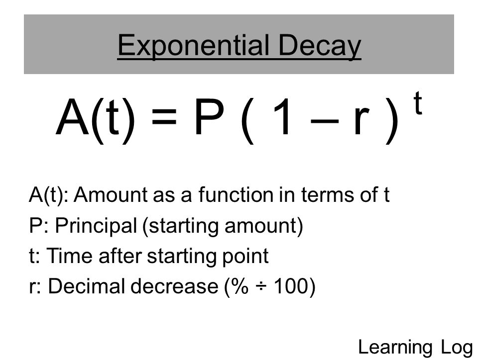 A(t) = P ( 1 – r ) t Exponential Decay