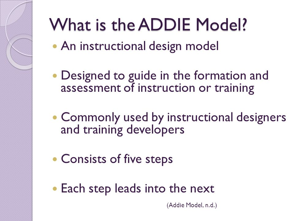 instructional design with addie method essay Models for instructional design education essay essay kitchen custom essay сontact us blog using the addie model to design second life activities for.