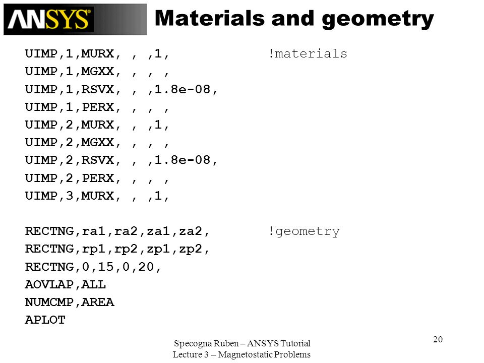 Materials and geometry