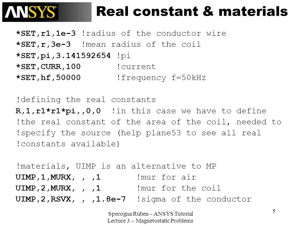 Real constant & materials