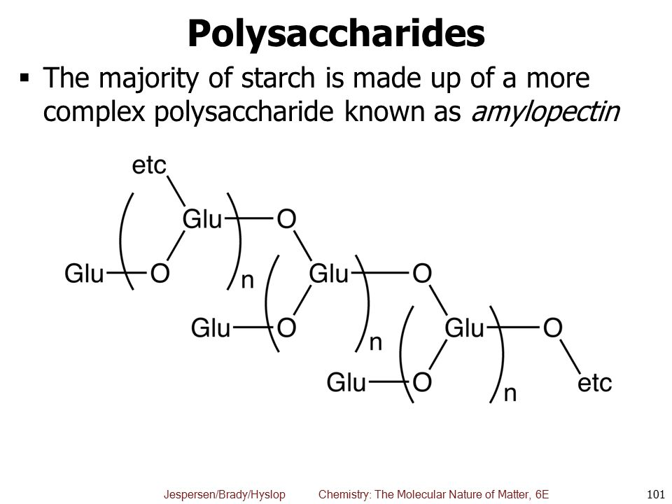 Polysaccharides The majority of starch is made up of a more complex polysaccharide known as amylopectin.