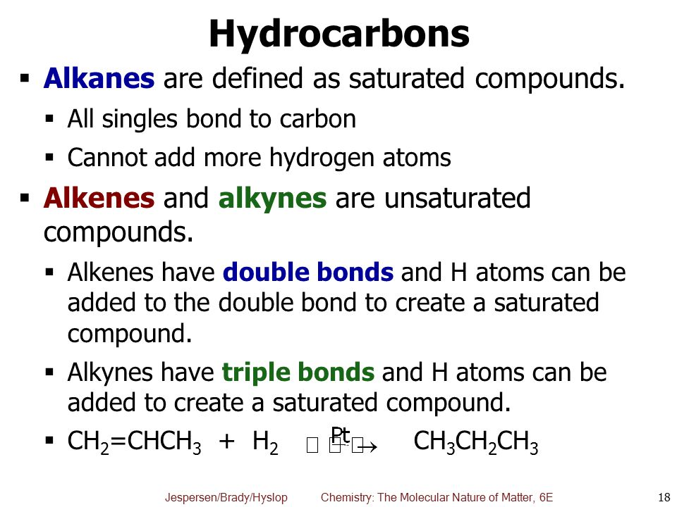 Hydrocarbons Alkanes are defined as saturated compounds.