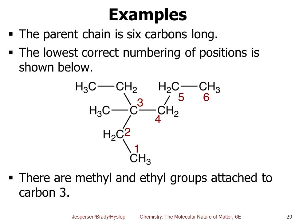 Examples The parent chain is six carbons long.