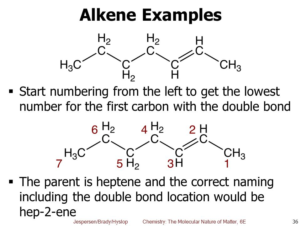 Alkene Examples Start numbering from the left to get the lowest number for the first carbon with the double bond.