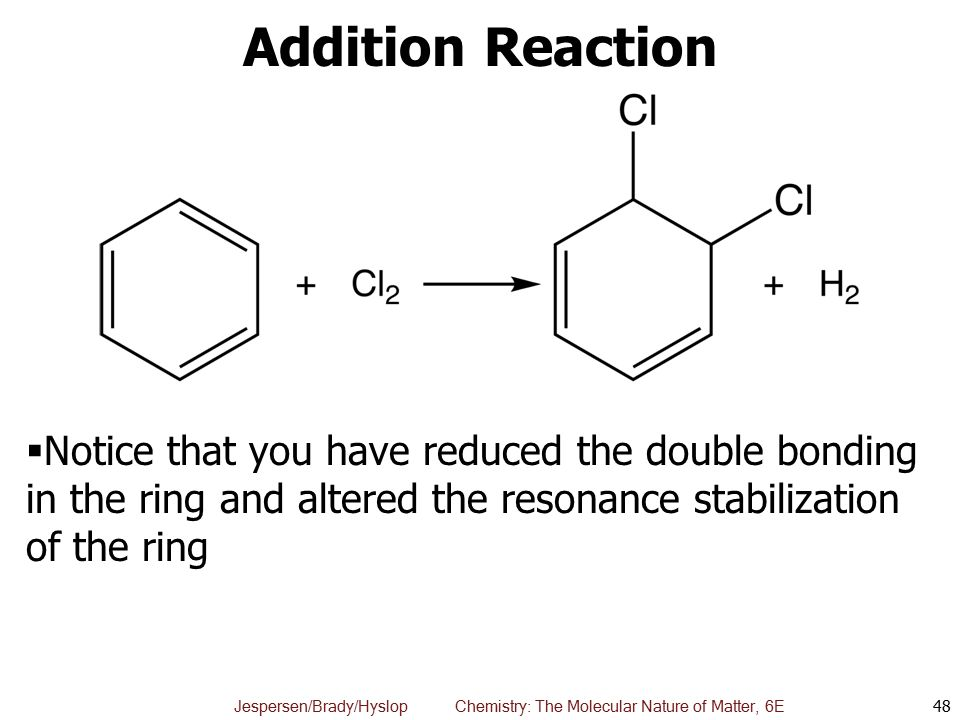 Addition Reaction Notice that you have reduced the double bonding in the ring and altered the resonance stabilization of the ring.