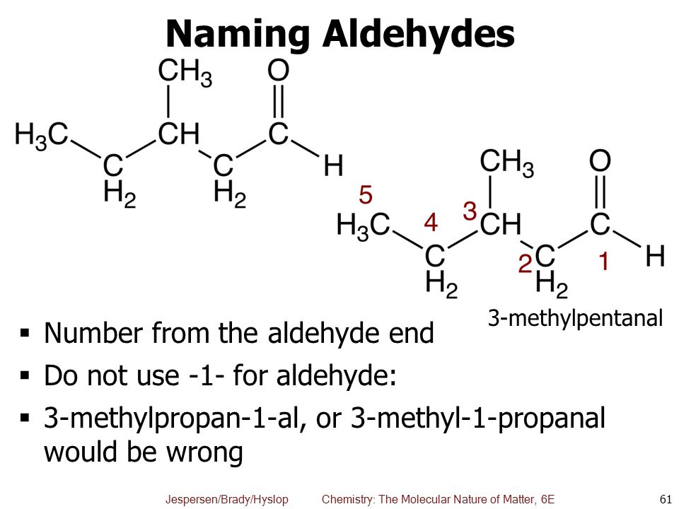 Naming Aldehydes Number from the aldehyde end