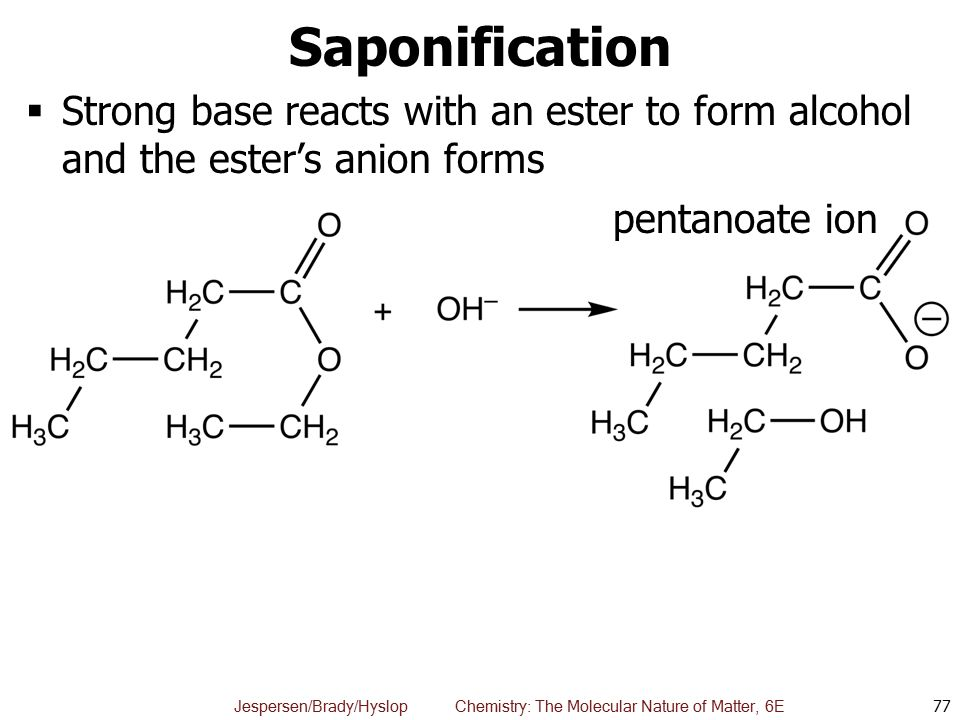 Saponification Strong base reacts with an ester to form alcohol and the ester's anion forms.