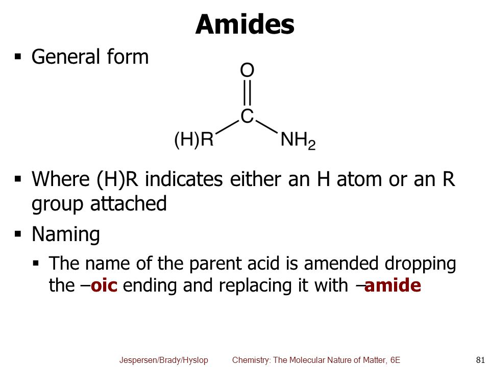 Amides General form. Where (H)R indicates either an H atom or an R group attached. Naming.