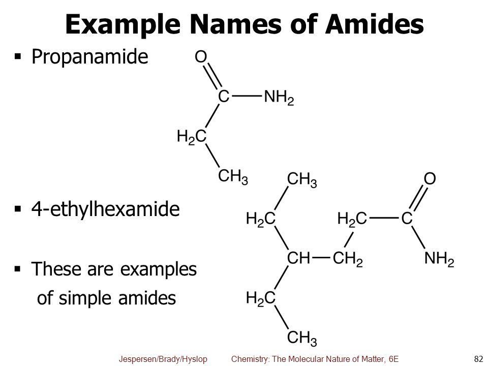 Example Names of Amides