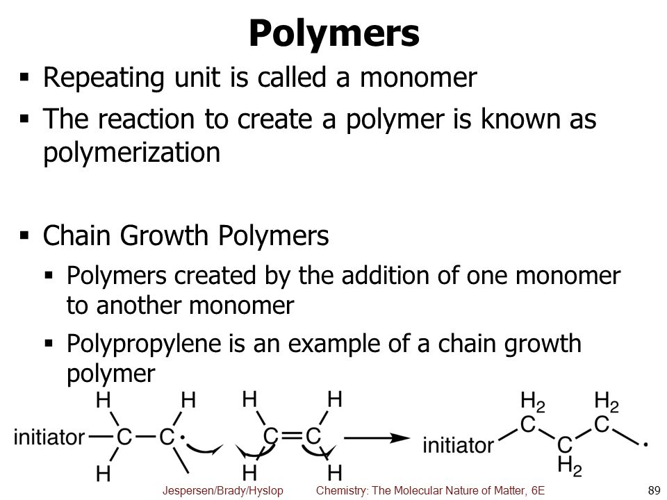 Polymers Repeating unit is called a monomer