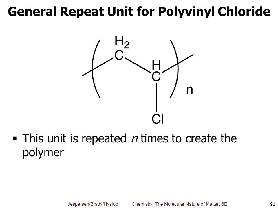 General Repeat Unit for Polyvinyl Chloride