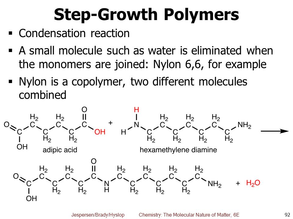 Step-Growth Polymers Condensation reaction