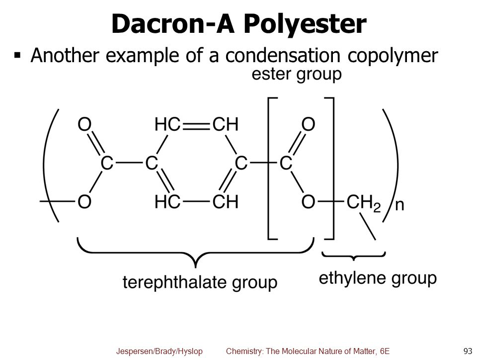 Dacron-A Polyester Another example of a condensation copolymer