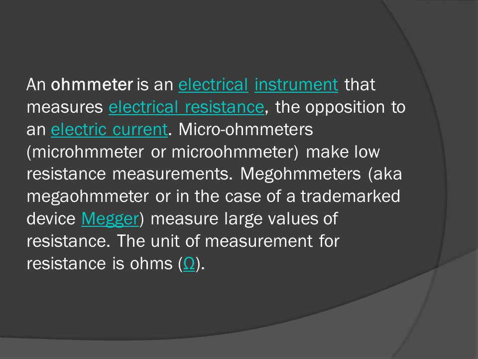Ohmmeter To Measure Ohms : Measurements series ohmmeter ppt video online download