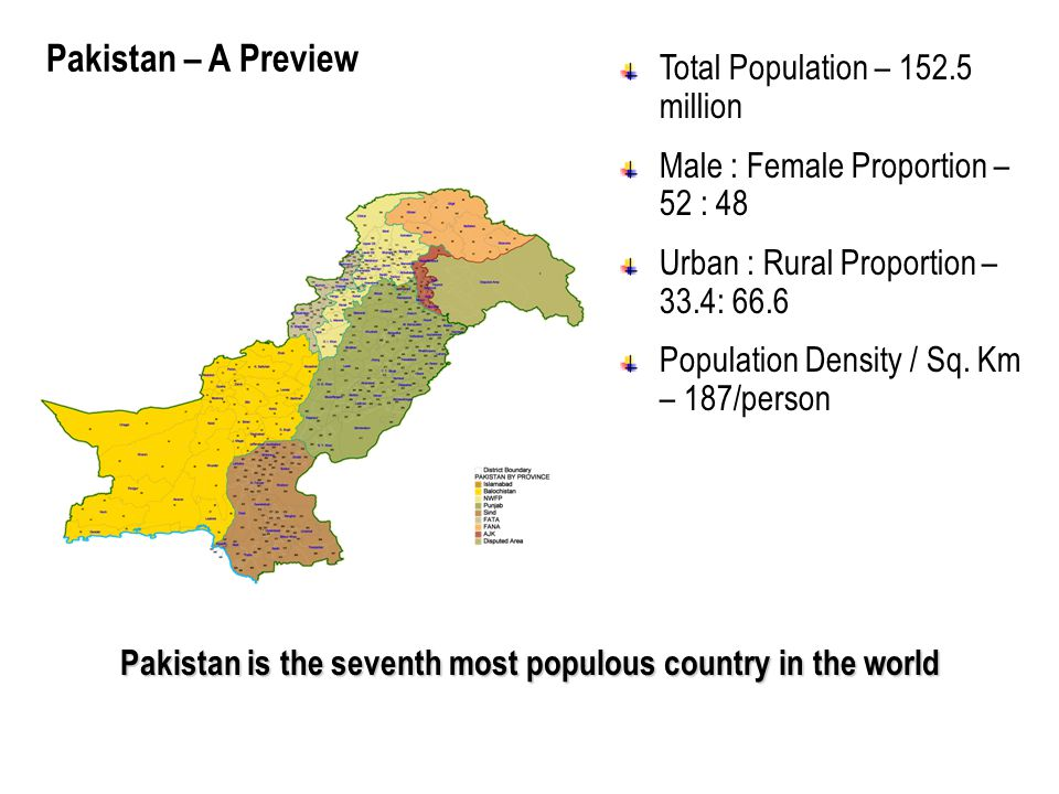 Pakistan is the seventh most populous country in the world