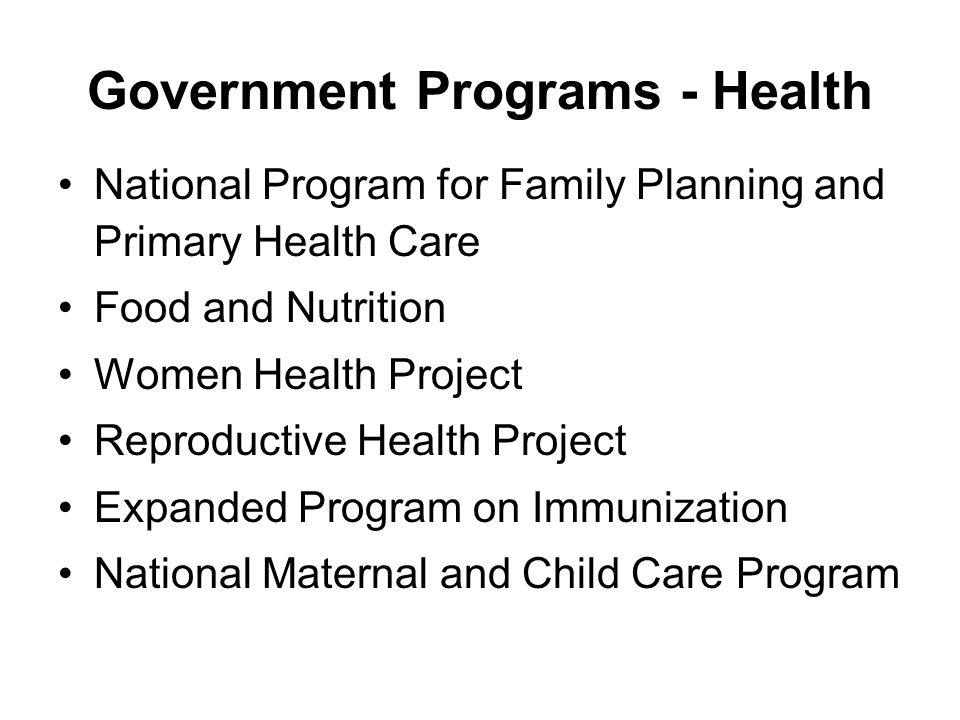 Government Programs - Health