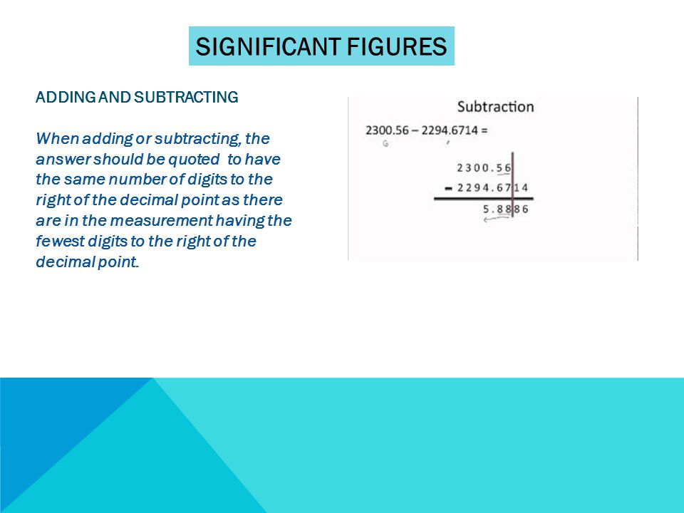 SIGNIFICANT FIGURES ADDING AND SUBTRACTING