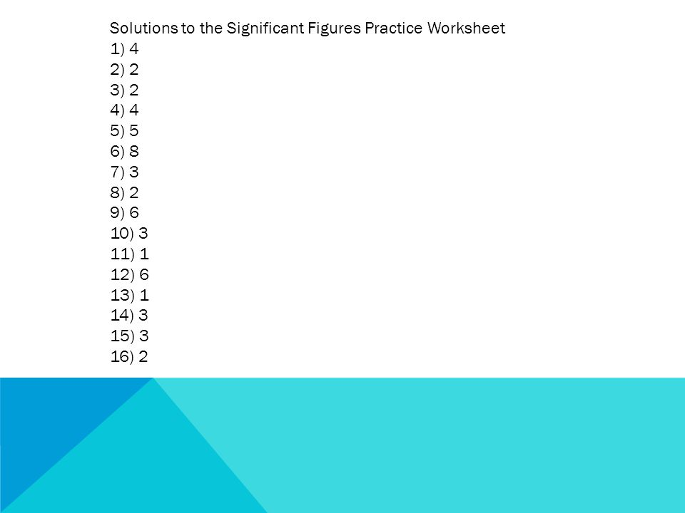 Solutions to the Significant Figures Practice Worksheet