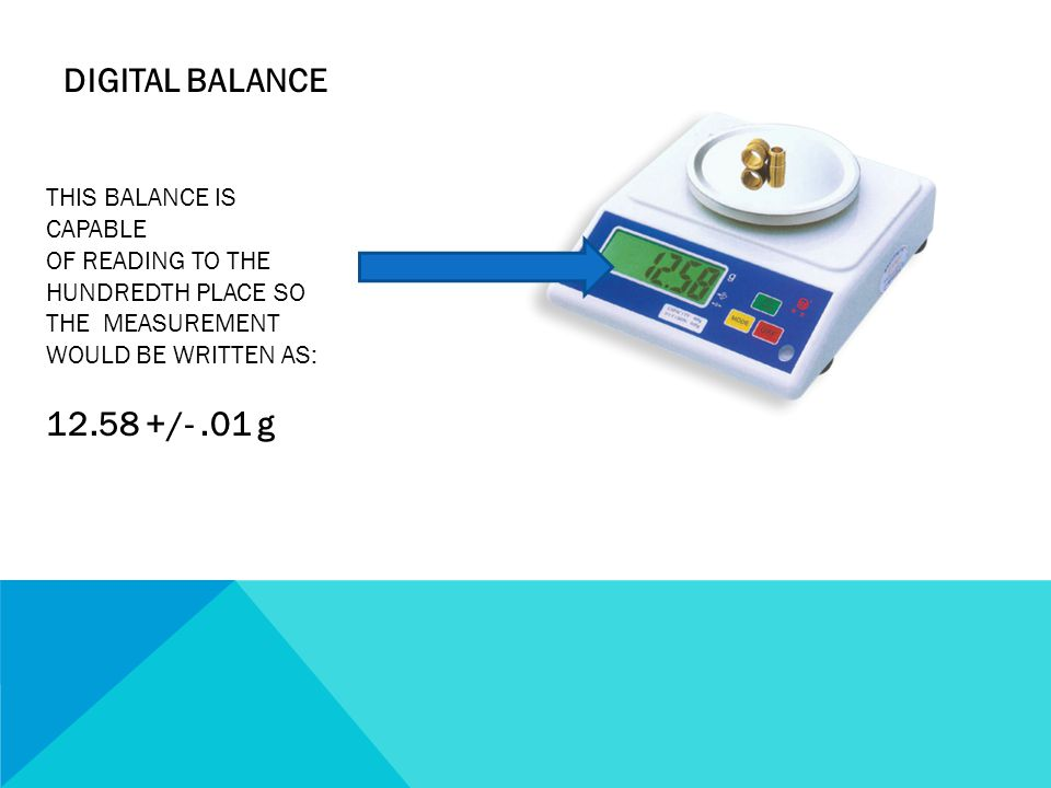 DIGITAL BALANCE /- .01 g THIS BALANCE IS CAPABLE