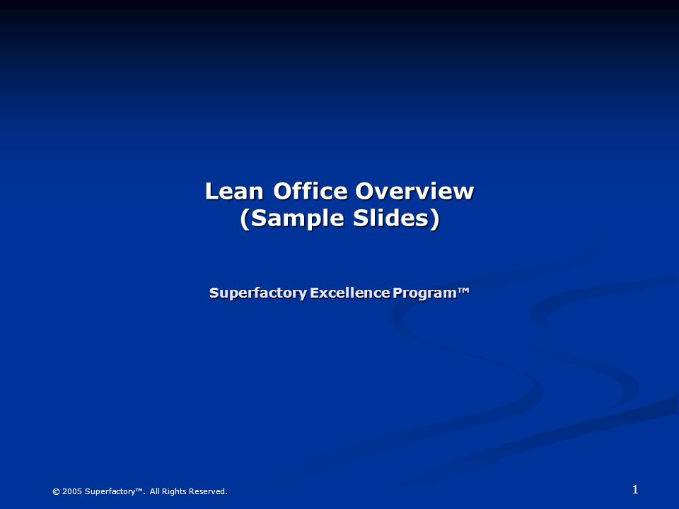 lean office overview sample slides superfactory excellence program