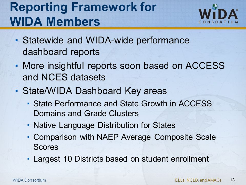 Reporting Framework for WIDA Members