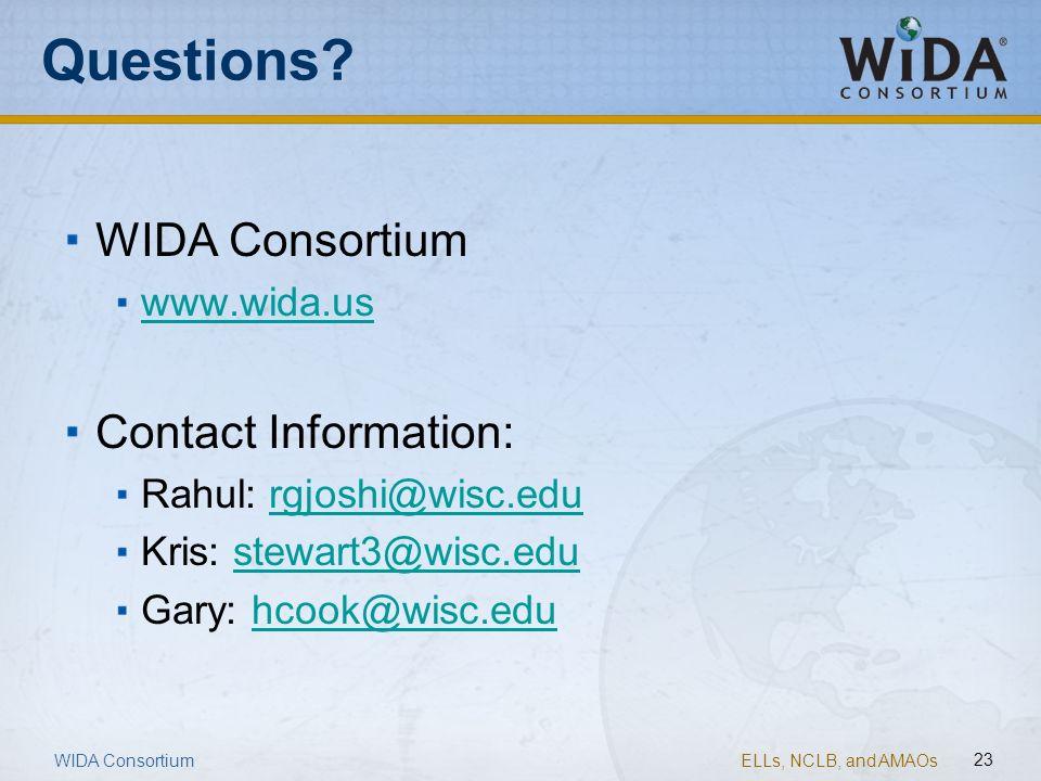 Questions WIDA Consortium