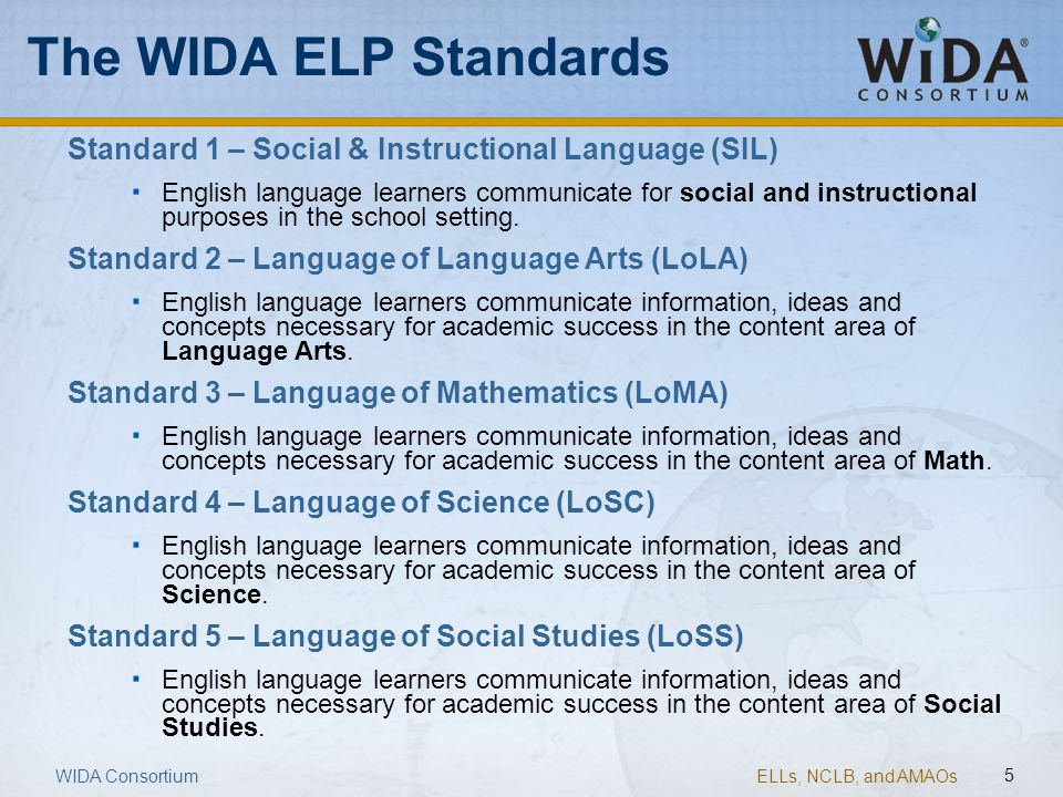 The WIDA ELP Standards Standard 1 – Social & Instructional Language (SIL)