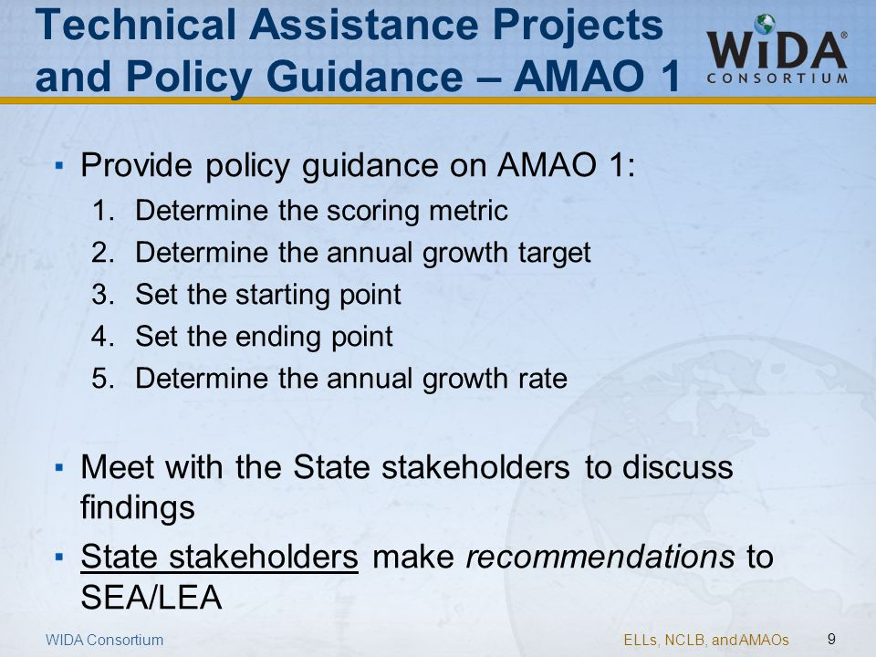 Technical Assistance Projects and Policy Guidance – AMAO 1