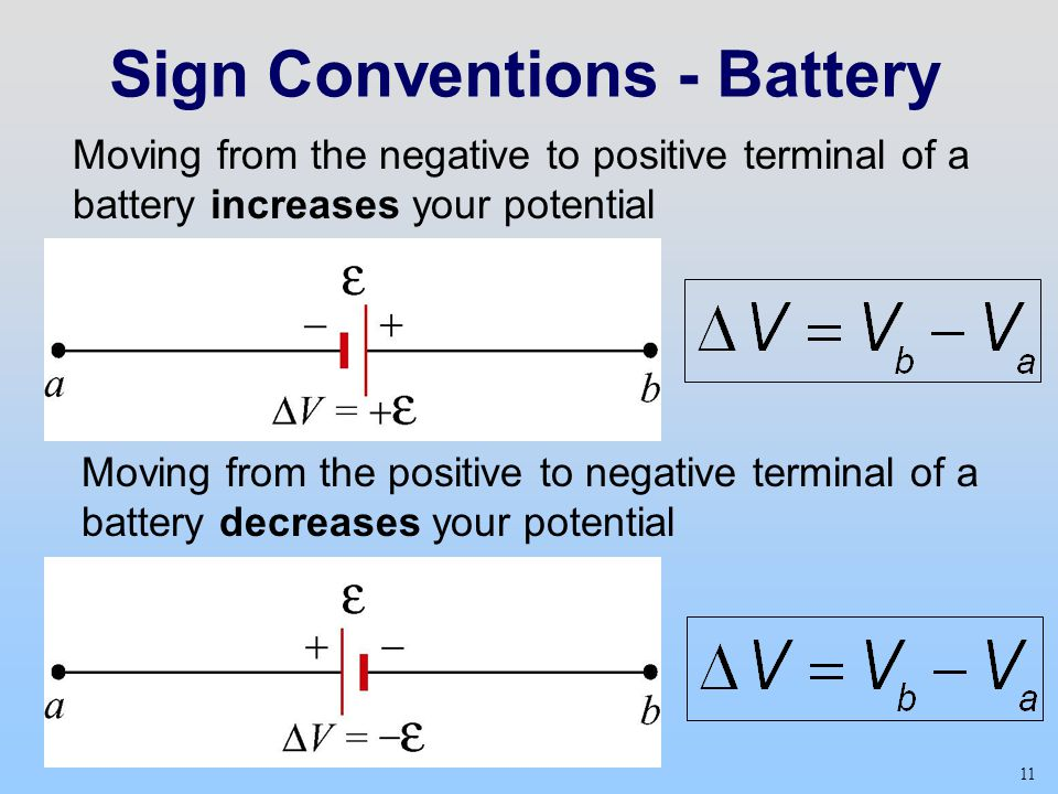 Sign Conventions - Battery