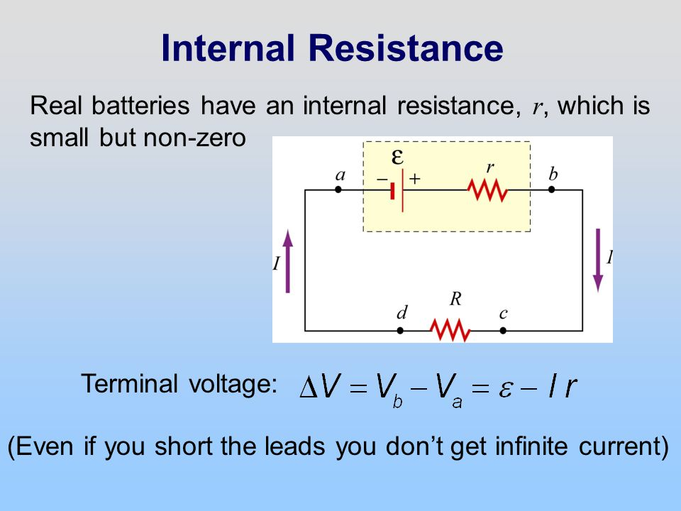 Internal Resistance Real batteries have an internal resistance, r, which is small but non-zero. Terminal voltage: