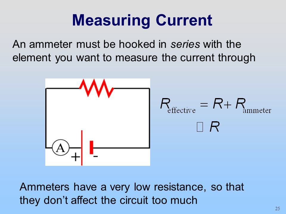 Measuring Current An ammeter must be hooked in series with the element you want to measure the current through.