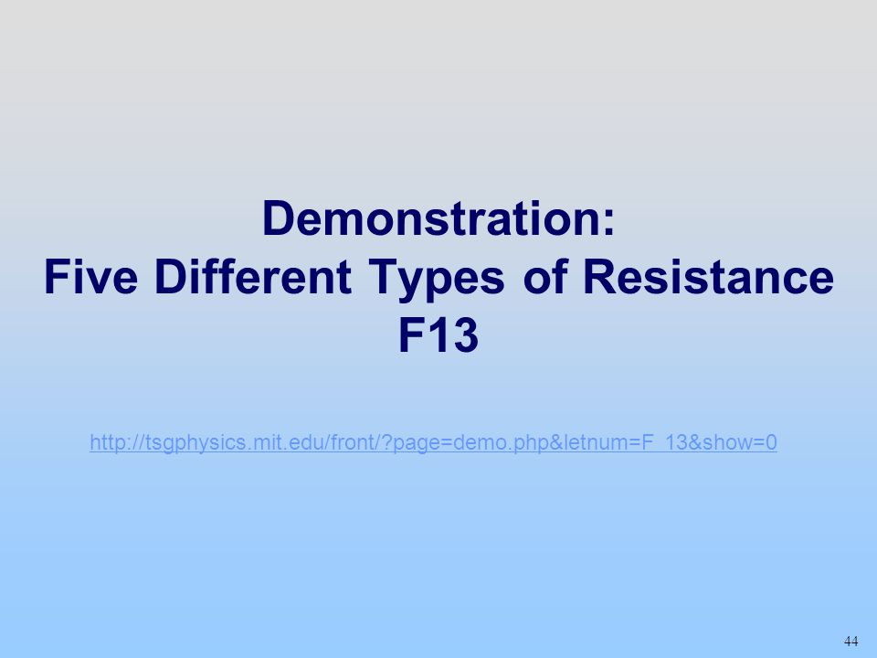 Demonstration: Five Different Types of Resistance F13