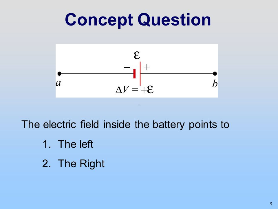 Concept Question The electric field inside the battery points to