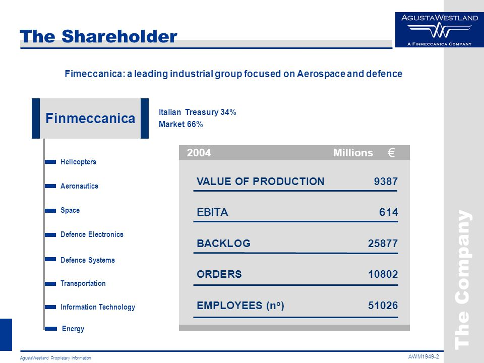 The Company The Shareholder Finmeccanica 2004 Millions
