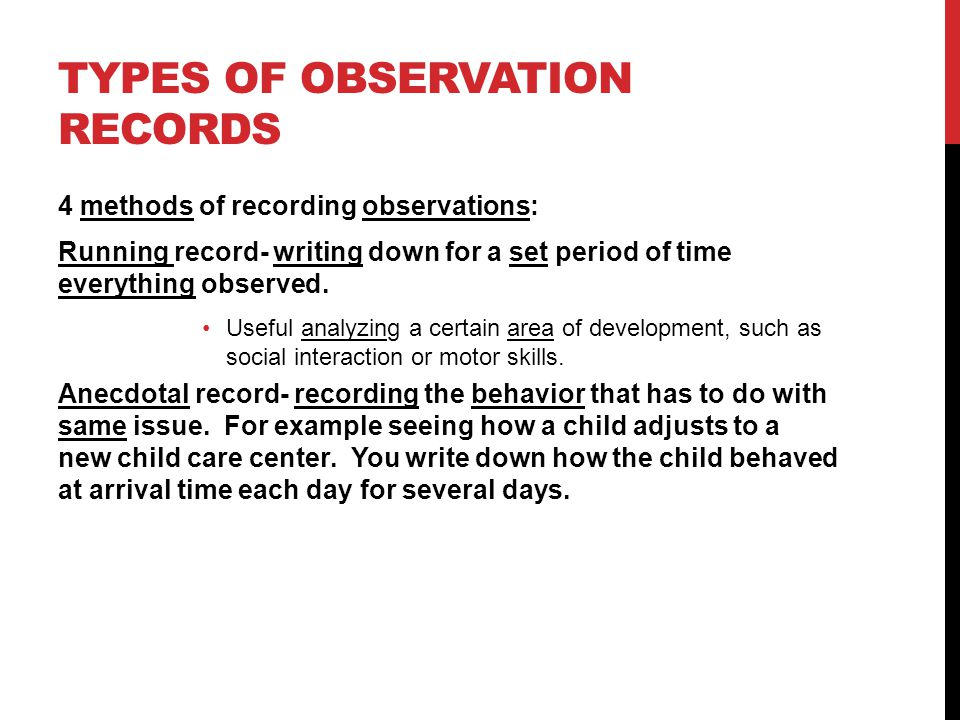 Types of Observations for Children in Daycare Centers