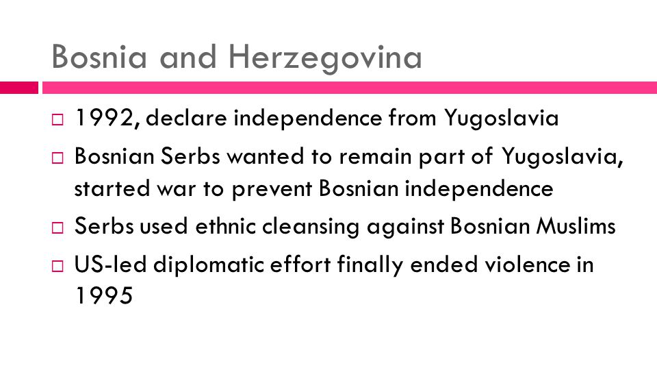 An analysis of the war in bosnia herzegovina which began in 1992