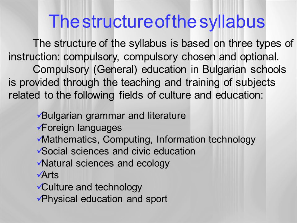The structure of the syllabus