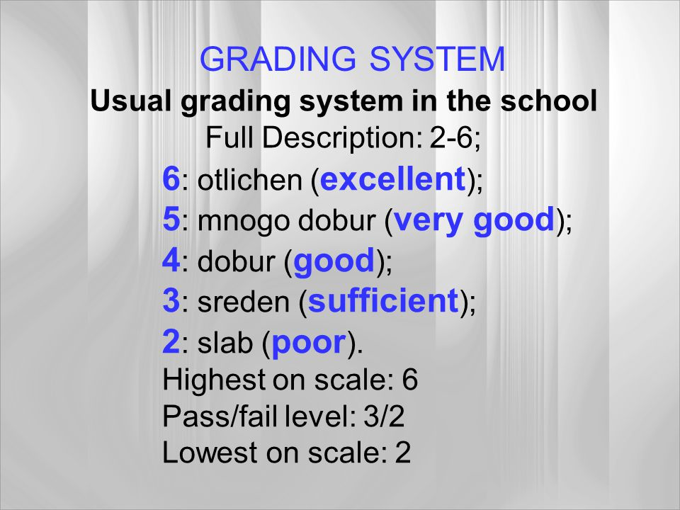 Usual grading system in the school