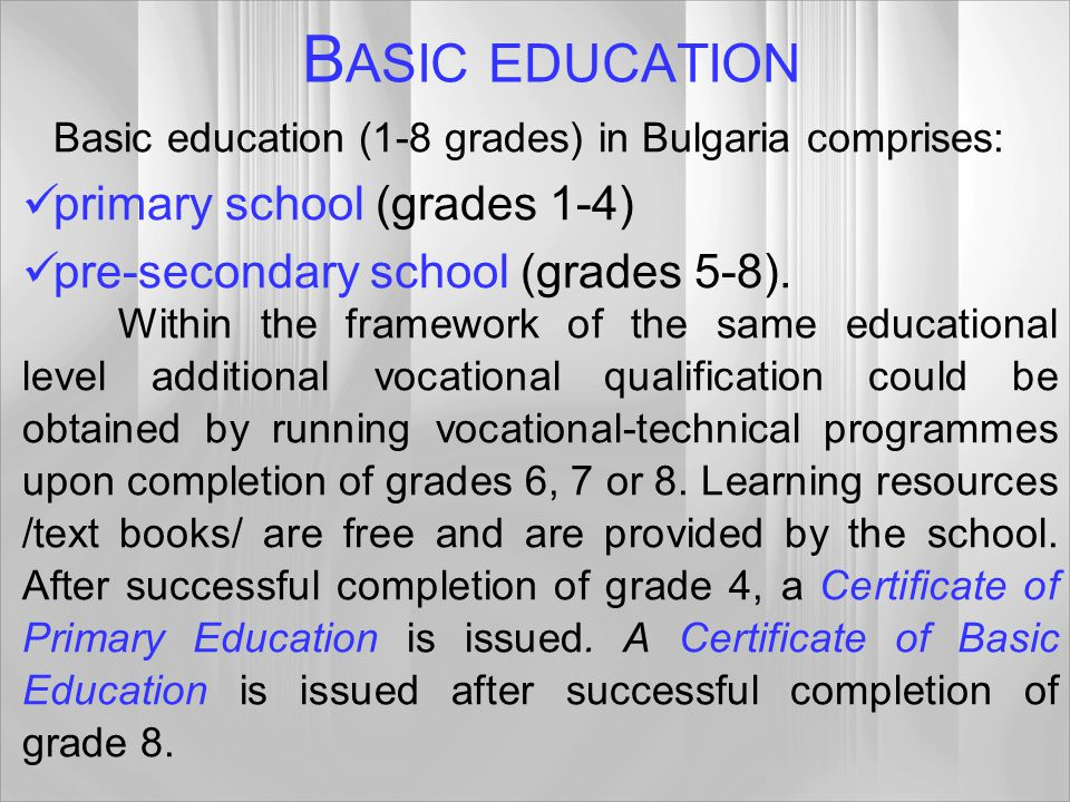 BASIC EDUCATION primary school (grades 1-4)