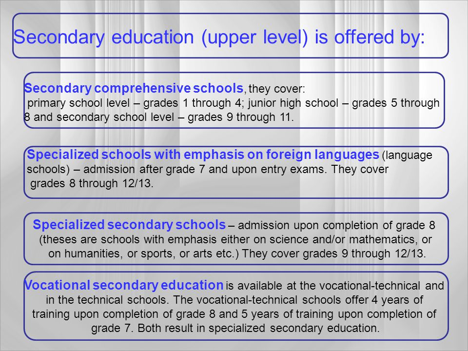 Secondary education (upper level) is offered by: