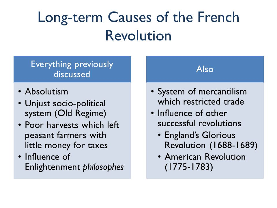 short and long term causes of the french revolution essay Free french revolution papers, essays, and research papers my account your search returned over 400  french history] term papers 2543 words | (73 pages) | preview  - historians have long debated the causes of the french revolution perhaps this is because it was a result of a multitude of factors as opposed to just a single one.