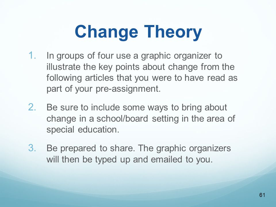 change theory education International journal of scholarly academic intellectual diversity volume 8 number 1 2004-2005 1 comparison of change theories alicia kritsonis.