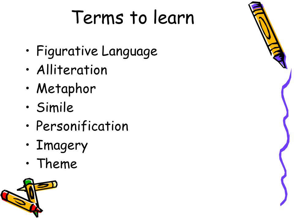 Terms to learn Figurative Language Alliteration Metaphor Simile